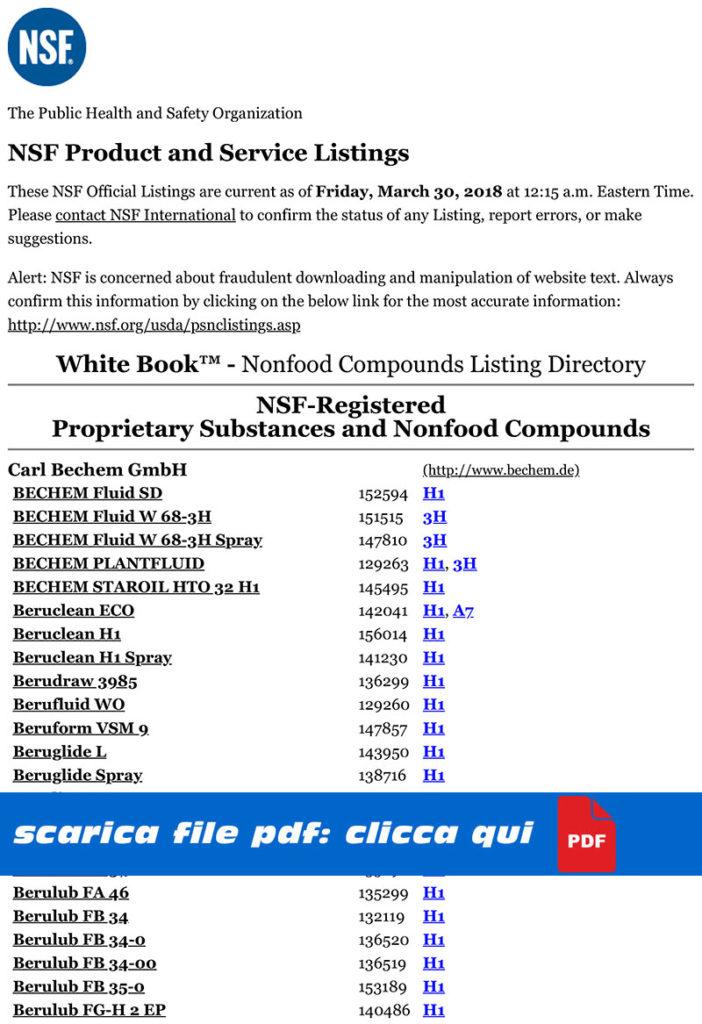NSF Certificazioni